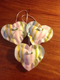 Vintage Fabric Heart Ornaments 1028-15 by UppityStuff on Etsy
