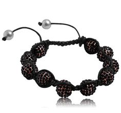 $5.99 - Light Brown Crystal Adjustable Bead Bracelet