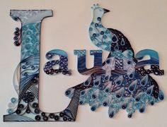 Quilling, name, Laura, peacock