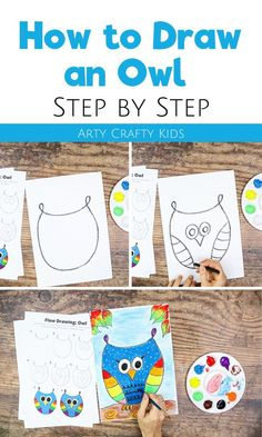Looking for step by step tutorials on how to draw an owl for kids this fall? In this post, children will learn how to draw a cute owl step by step using a flow drawing technique. They can then use watercolors to paint it. Watch videos   get step by step instructions for this   other art projects for kids here! How to Draw an Owl Step By Step Kids | Art Ideas for Kids | Easy Drawings for Kids | Cute Owl Drawing for Kids | Step by Step Owl Drawing for Kids | Directed Owl Drawing for Kids