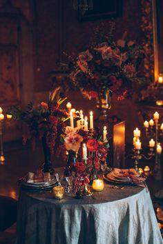 Italian Gothic Wedding Inspiration at Villa Di Maiano Stefano Santucci. Halloween Wedding Centerpieces, Wedding Table Centerpieces, Gothic Wedding Decorations, Halloween Weddings, Victorian Wedding Decor, Gothic Wedding Ideas, Centerpiece Ideas, Red Wedding, Perfect Wedding