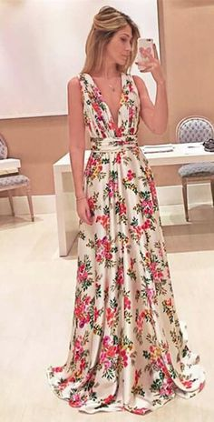 A-Line Prom Dresses,Deep V-Neck Prom Dresses,Long Prom Dresses,Ivory Prom Dresses,Floral Prom Dresses,Prom Dresses 2017