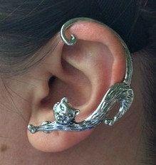 JEWELRY EAR CUFF Silver Cat Cuff Goth Punk Rock Women's Pierced Left Ear Earring Silver Cuff Painted Art Jewelry - pinned by pin4etsy.com