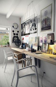 Home Inspiration long narrow desk DIY