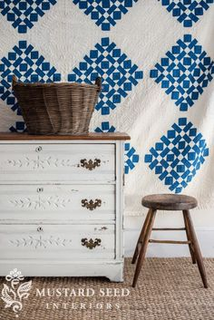Quilt as Art adds wonderful texture to this vignette.....