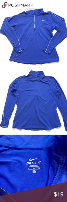 """Nike Dri-Fit Quarter Zip Top Fair used condition. 1/4 zip Nike dri-fit work out top. Reflective details along zipper and at back of collar. Mesh vents at underarms. Some light pilling and discoloration around collar, as shown in photos. About 22"""" across chest, 23.5"""" in length from shoulder to hem. 🚫trades🚫 smoke free home Nike Tops Sweatshirts & Hoodies"""