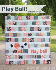 Great simple quilt pattern - maybe without the ball! Play Ball - a free quilt tutorial from A Bright Corner!