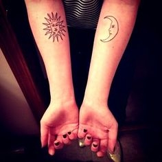 The sun and moon tattoo twin mates ying yang  the same soul I´m the moon you are the sun