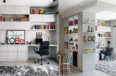 Home Office com detalhes coloridos