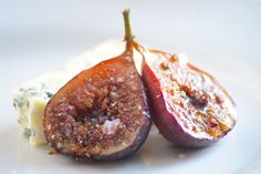 Cider Balsamic-Roasted Figs with Cheese - wonderful as an elegant cheese course or as part of a cheese board. Great with Stilton & a glass of Port!