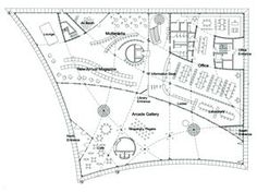 Plan. Tama Art University Library (Hachioji campus), Hachioji City, Tokyo, Japan | Toyo Ito & Associates
