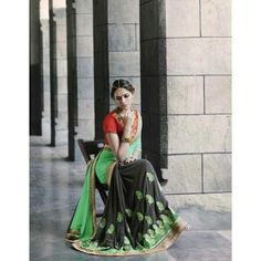 Shop Online for Vivel's Women's half & half Georgette Heavy Embroidery Saree in India at ladyindia.com