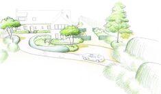 Jardin avec Piscine croquis de l'entrée
