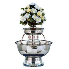 Apex Princess 5 Gallon SS Beverage Fountain with Silver Bow Tie Trim & Floral Cup Fontaine A Punch, Champagne Fountain, Silver Bow Tie, Jefferson City Mo, Good Morning Coffee, Simply Filling, Thing 1, Linen Rentals, Flower Decorations
