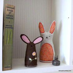 Small Brown Felt Rabbit Lavender Bag - an original design by Merry Berry and the Little Panda