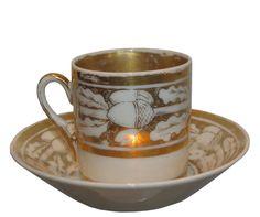 Rare Antique Old Paris Porcelain Cup & Saucer w Gold Acorn Decoration