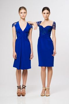 reem acra resort 2013 cobalt blue dresses Lace Sleeves