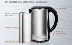 Secura Quart Stainless Steel Cordless Electric Water Kettle Double Wall Cool Touch Exterior This Electric Kettle comes with Stainless Steel Interior. Stainless Steel Pot, Steel Rims, No Plastic, Hot Pot, Drinking Water, Save Energy, Exterior, Touch, Cool Stuff