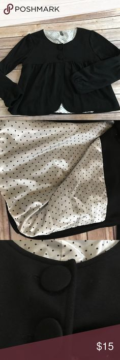 """Cute Cropped Jacket Cute black cropped jacket! Coffee shop lady! This was a item I picked up at a boutique. Gently used! 18"""" L 18"""" W, 20"""" sleeve. Coffee Shop Lady  Jackets & Coats Capes"""