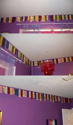 Ribbon border, just take push pins and pin each ribbon into the wall to form a boarder for your kids room out of all of their swim or dance ribbons.