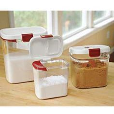 No more twist ties on bags! Protect flour, powdered sugar and brown sugar in these airtight canisters that keep out moths and moisture. Large openings make it easy to reach in and scoop...see-through design makes it easy to see when it's time to replenish. $13.98