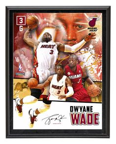 Each collectible comes with a collage of images of Dwyane Wade sublimated onto a black plaque. It measures 10 1/2 x13x1 and is ready to hang in any home or office.