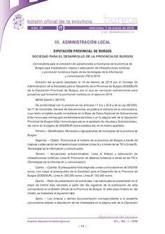 Convocatoria para la concesión de subvenciones a municipios de la provincia de Burgos para implantación, mejora o adecuación de infraestructuras turísticas y p…