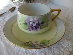 Vintage Hand painted Violets Teacup Set  c 1900s by LaCheriMaison, $20.00