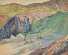 """""""Narrow Cove - 5 Figures,"""" Charles Herbert Woodbury, watercolor, 17 1/2 x 21 7/8"""", private collection."""
