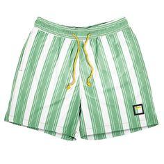 Traje de baño premium personalizable de secado rápido Barcode Green y cordón amarillo