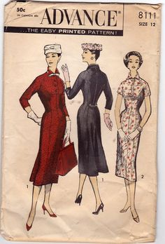 50s Sheath Dress Vintage Sewing Pattern 32B Advance 8111 from 1950s