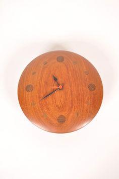 Scandinavian Teak Wall Clock, 1950s