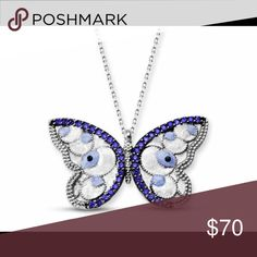 925 Sterling Silver Butterfly Necklace 925 Sterling Silver with Zircon Stone. Width is 28mm, height is 15mm, weight is 0.36oz. Chain length is 17.7 inches. Made in Turkey. Rosary Jewelry Necklaces