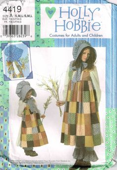 Holly Hobbie Mother Child Halloween Costume Sewing Pattern Simplicity 4419 by PeoplePackages