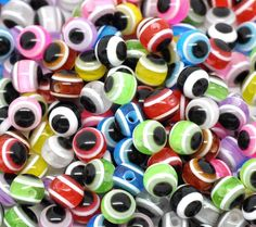 80 Mixed Color Evil Eye Resin Beads 6mm