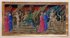 Priamo della Quercia (active 1426-1467). Dante and Virgil witnessing Vanno Fucci, the pillager of a church in Pistoia, being attacked by the monster Cacus, who is half-centaur and half-dragon, and Dante and Virgil speaking to three other souls, tormented by snakes and lizards. 14th-Century Illuminations for Dante's Divine Comedy | The Public Domain Review
