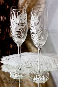 Peacock Feather champagne flutes / Fashion wedding от DiAmoreDS