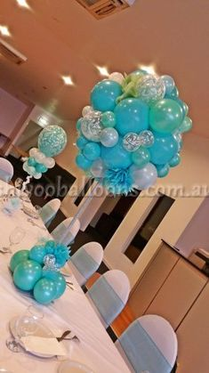 Tiffany inspired topiary tree centrepiece by Shivoo Balloons in Melbourne. - Decoration For Home Balloon Table Centerpieces, Masquerade Centerpieces, Birthday Balloon Decorations, Balloon Arrangements, Centrepieces, Wedding Centerpieces, Floral Arrangements, Balloon Topiary, Balloon Columns