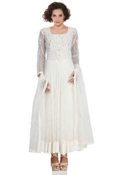 Women Anarkali with Heavy Stone Beads Embroidery in Snow White – USMART NY