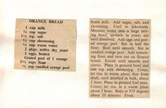 Recipe Clipping For Orange Bread