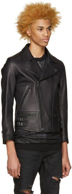 Blackmeans: Black Leather Biker Jacket | SSENSE