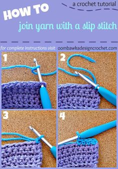 How To Join New Yarn with a Slip Stitch #crochet #tutorial