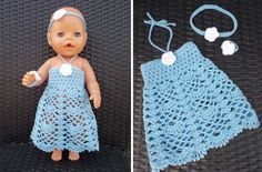 Jurkje voor Baby Born pop ( met gratis patroon) / Dress for Baby Born doll (with free pattern) Baby Girl Dress Patterns, Baby Dress, Trendy Baby, Crochet Dolls, Crochet Baby, Baby Born Kleidung, Baby Born Clothes, Baby Boy Haircuts, Baby Pop