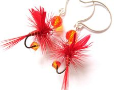 Fire Red Fishing Fly Lure Earrings Orange Yellow by Raynecloud