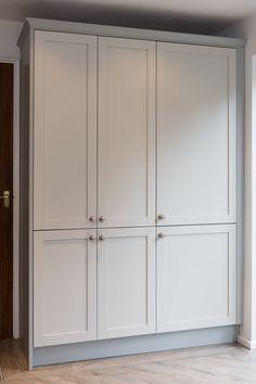 A Hammonds furniture kitchen larder unit cleverly conceals the fridge freezer in this shaker style grey painted kitchen. Modular Furniture, Scandinavian Furniture, Cheap Furniture, Furniture, Shaker Style, Top Furniture, Grey Painted Kitchen, Furniture Removal, Kitchen Larder
