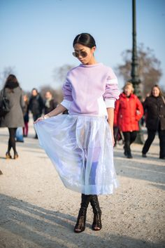 Topshop: This season we're coveting everything transparent and shiny. Look Fashion, Girl Fashion, Womens Fashion, Street Fashion, Space Outfit, Organza, Sustainable Clothing, Street Chic, Passion For Fashion