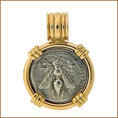 Ancient Greek Silver Drachm, Bee Coin Pendant Circa 202 - 133 B.C. Bee with Straight Wings