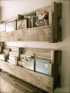 Bookshelves made from pallets. GREAT idea and gorgeously done!