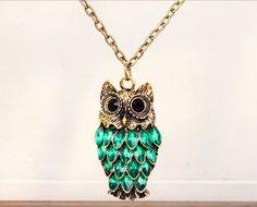 Vintage Green Rhinestone Owl Pendant Long Chain Necklace