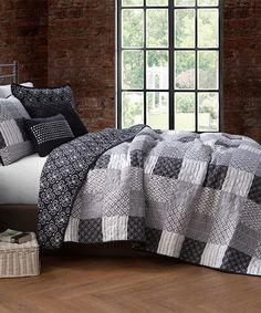 Another great find on #zulily! Black Evangeline Five-Piece Quilt Set #zulilyfinds